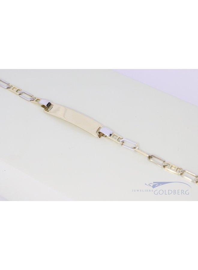 luxe kinder naamarmband bi-colour 14k goud