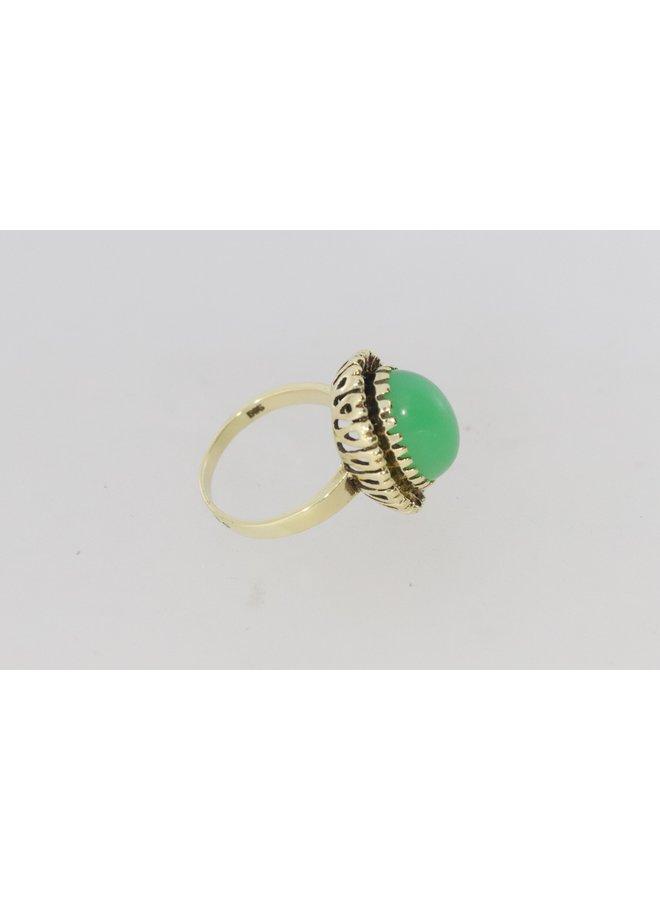 Vintage 14k gouden ring met chrysopraas.