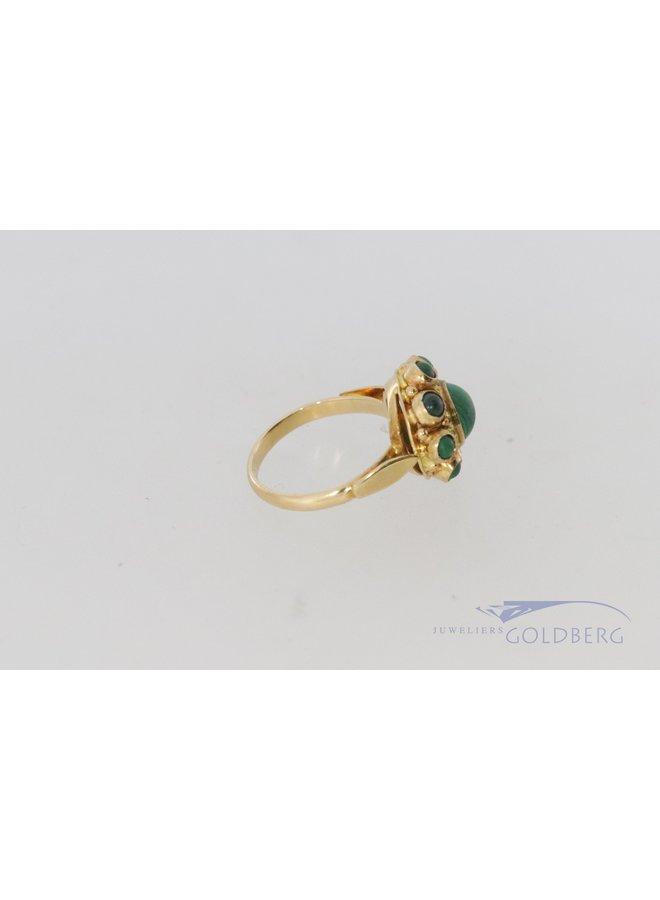 Vintage klassieke stijl 14k gouden ring met malachiet