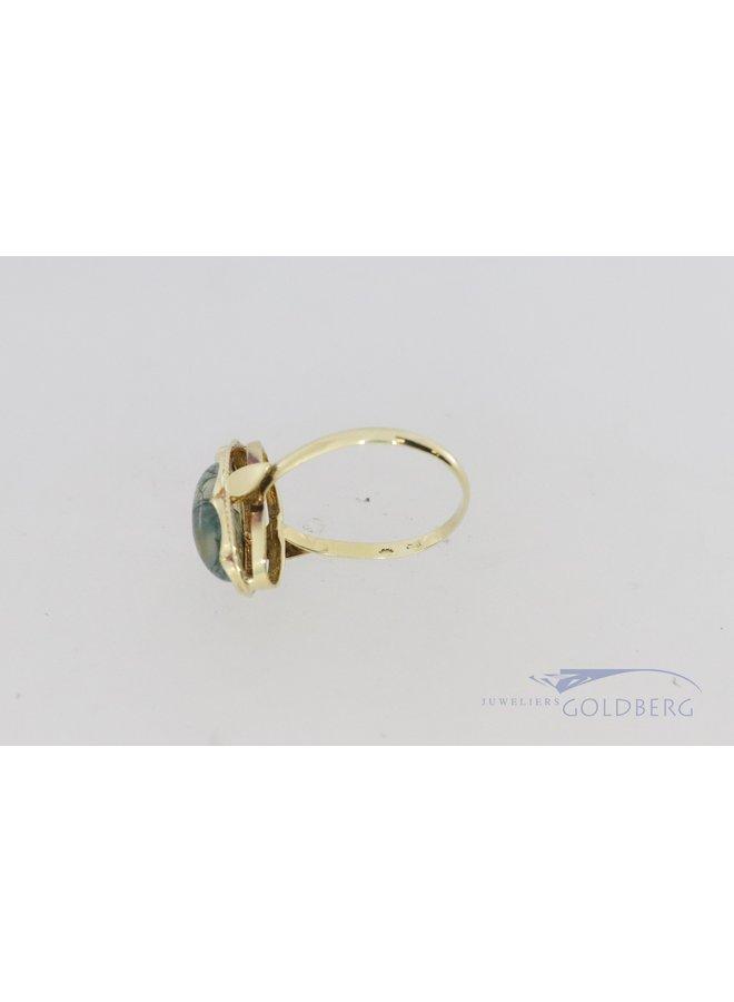 vintage 14k ovale ring met mosagaat