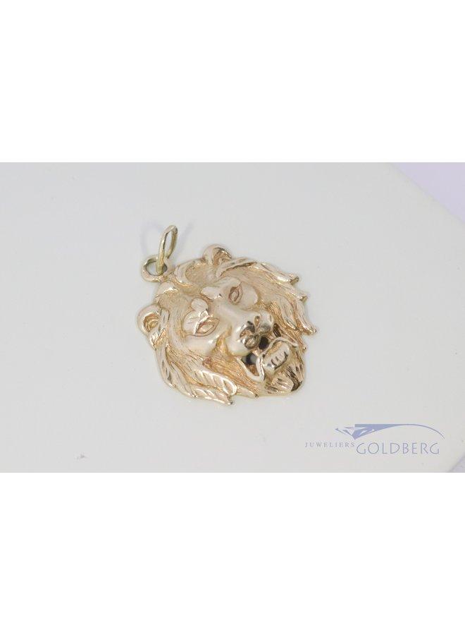 14k gouden vintage leeuwenkop hanger