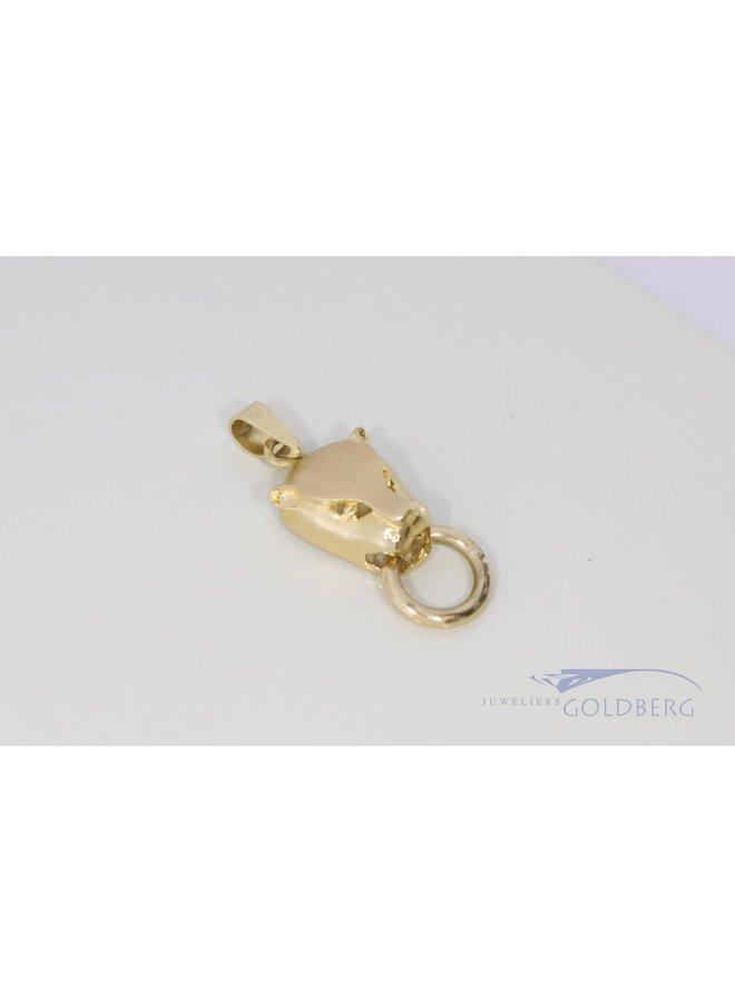 """14k """"panter met ring"""" hanger"""