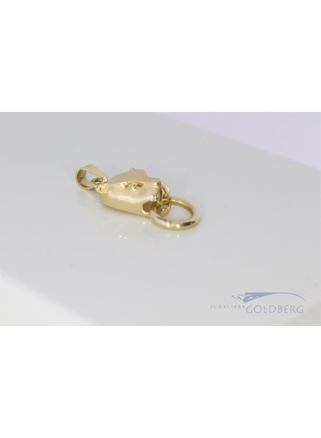 """14k """"panther with ring"""" pendant"""