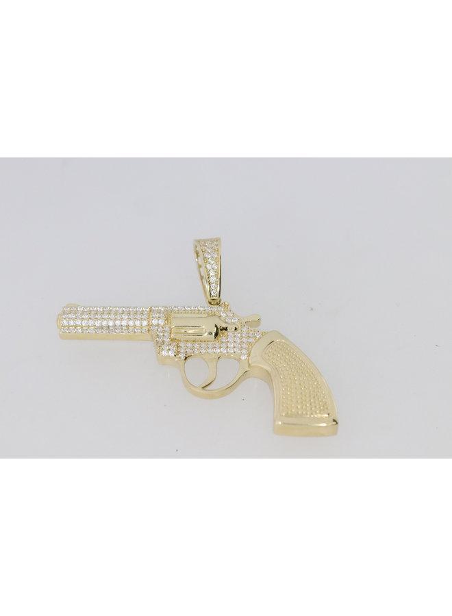 14k geelgouden revolver hanger met zirkonia