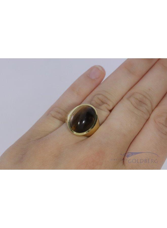 vintage 14k signet ring with tiger eye