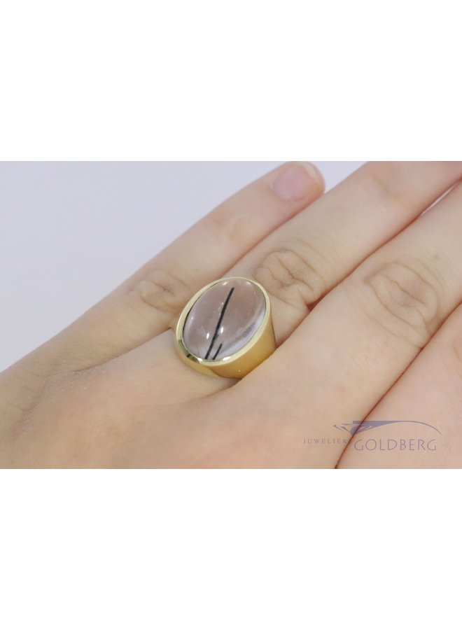 vintage 14 carat signet ring with rutile quartz.