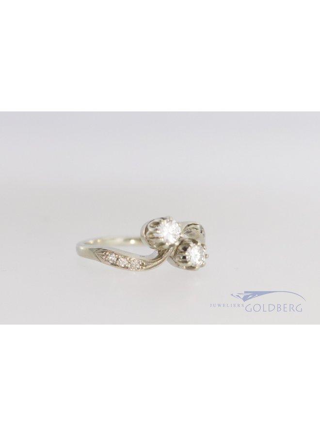 14k witgouden ring Art Deco stijl