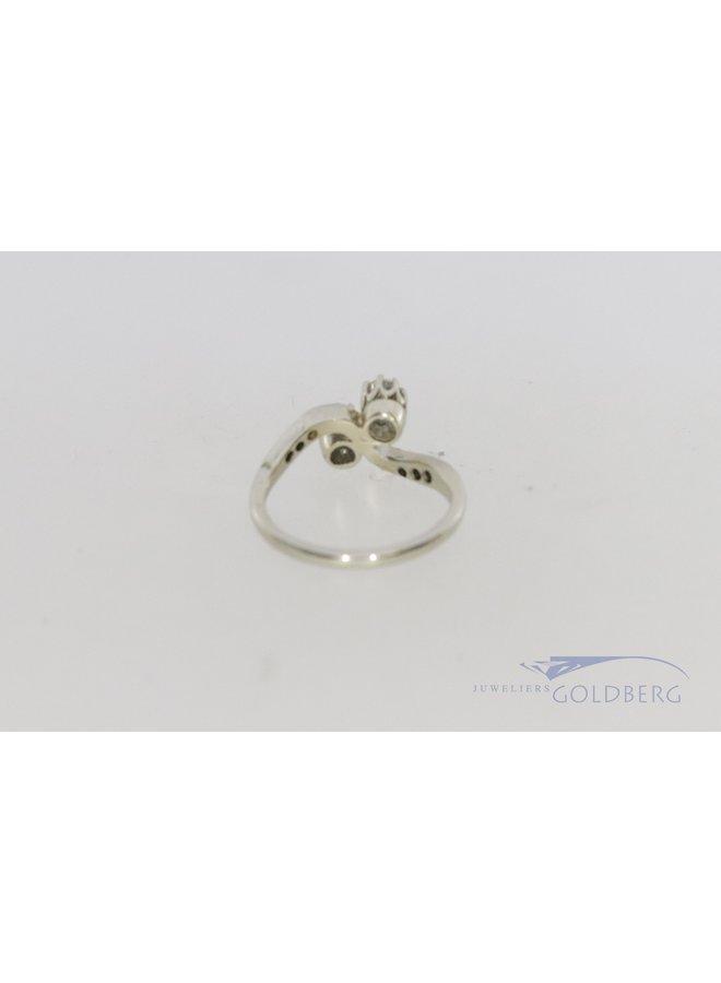 14k white gold ring Art Deco style
