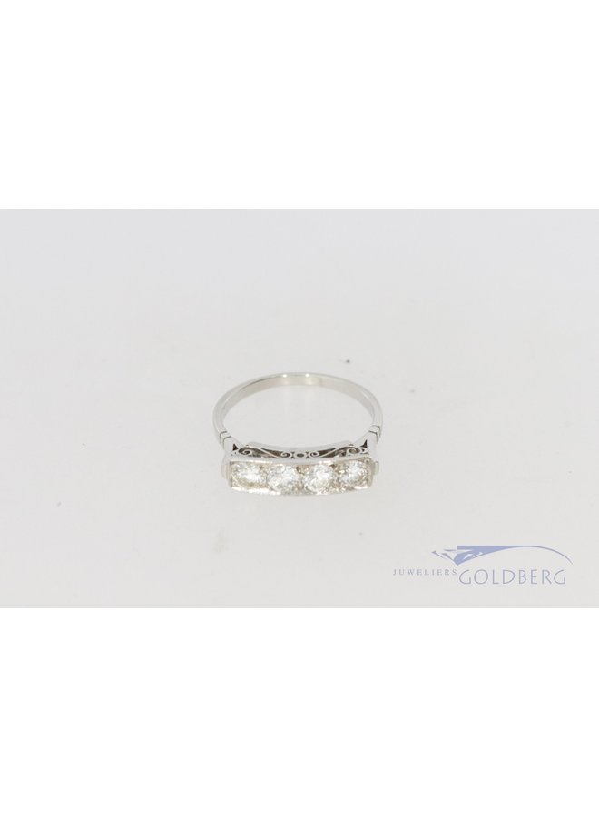 Art Deco 14k witgouden ring met 4 diamanten