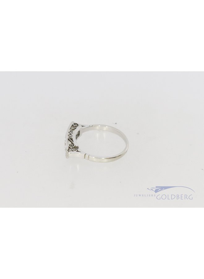 Art Deco 14k white gold ring with 4 diamonds