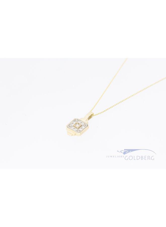 14k gouden hanger met diamant uit eigen atelier