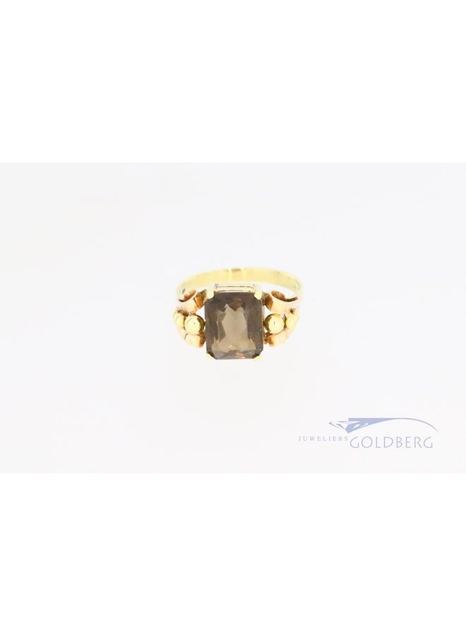14k vintage ring with smoky quartz