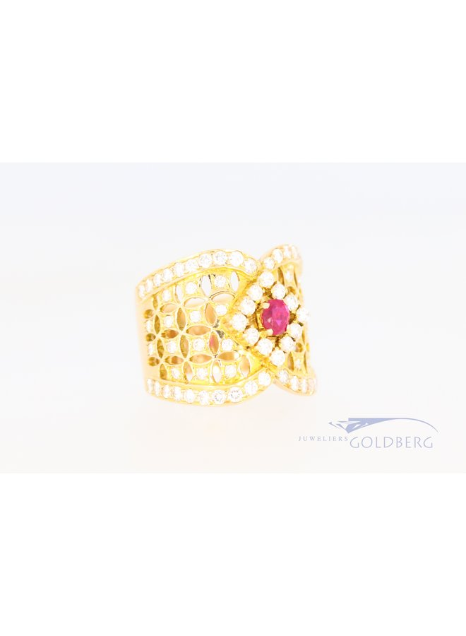 14k wide ring with diamond and ruby