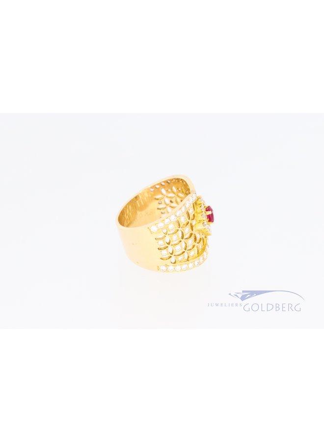 14k brede ring met diamant en robijn