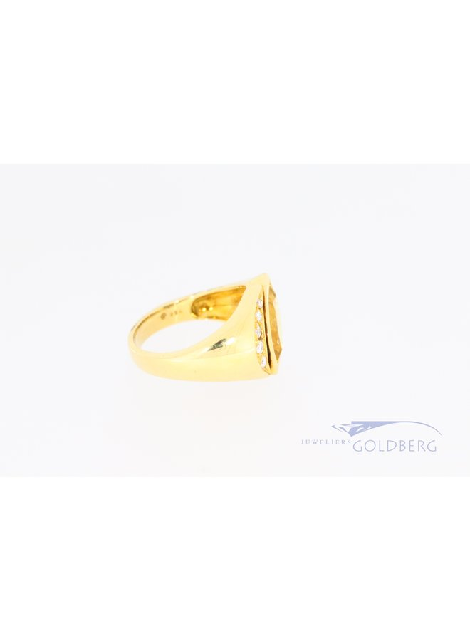 Wide heavy 18 carat gold ring with marquis-shaped citrine and diamond