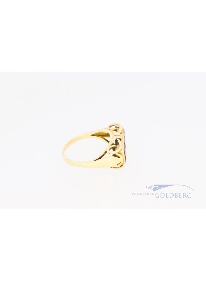 14k geelgouden ring met 3x prinses geslepen citrien