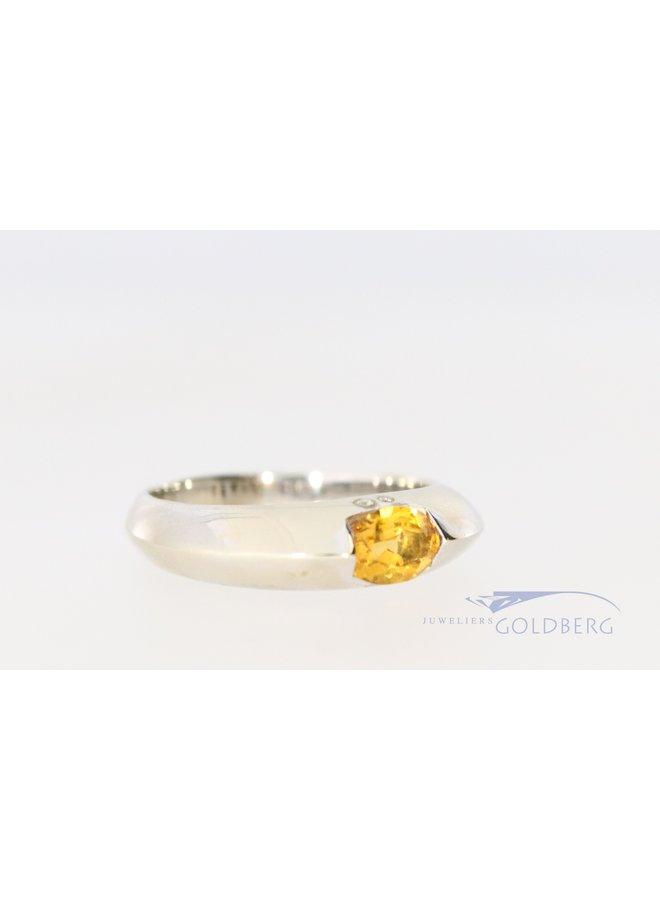 Witgouden 14k ring met 4x diamant en citrien