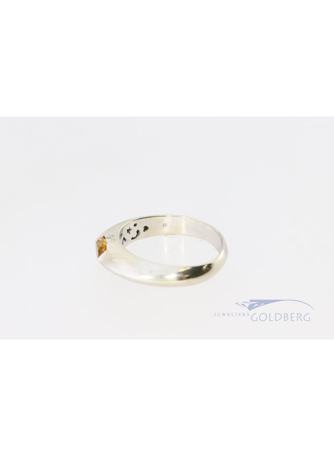 White gold 14k ring with 4x diamond and citrine