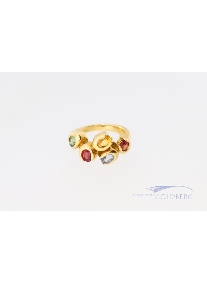 Cheerful 18k ring with various colored stones