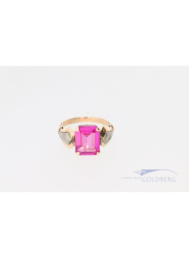 vintage 14k ring met roze spinel