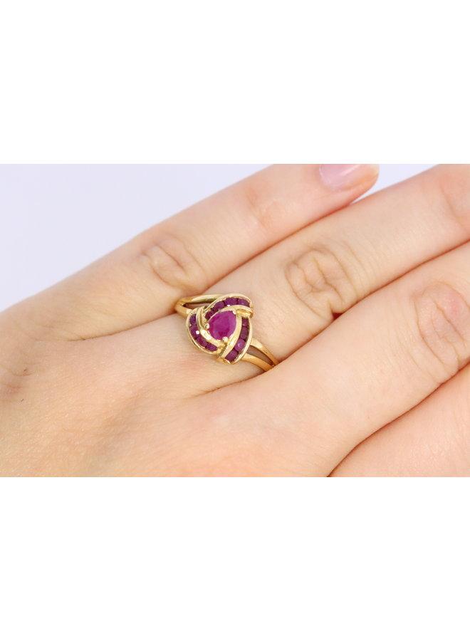 14k vintage ring met robijn