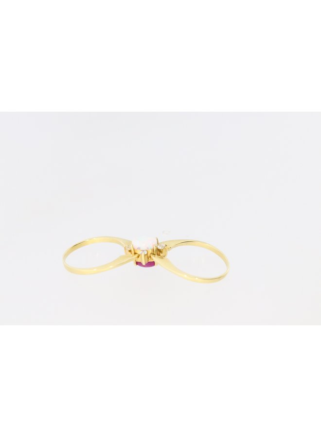 14 carat gold exchange ring with opal, ruby and zirconia.