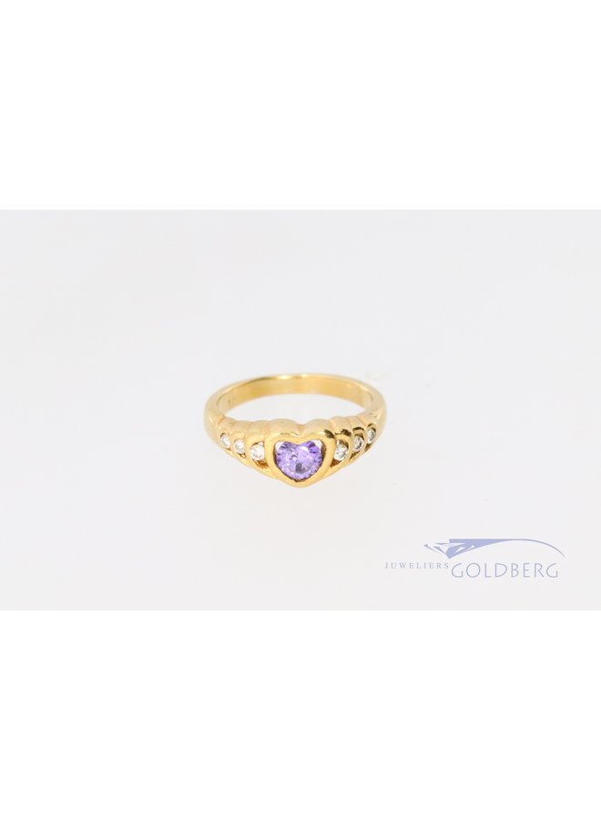 18k ring with heart and amethyst