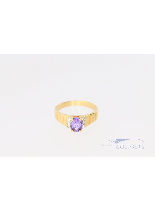 18k vintage ring with amethyst and zirconia