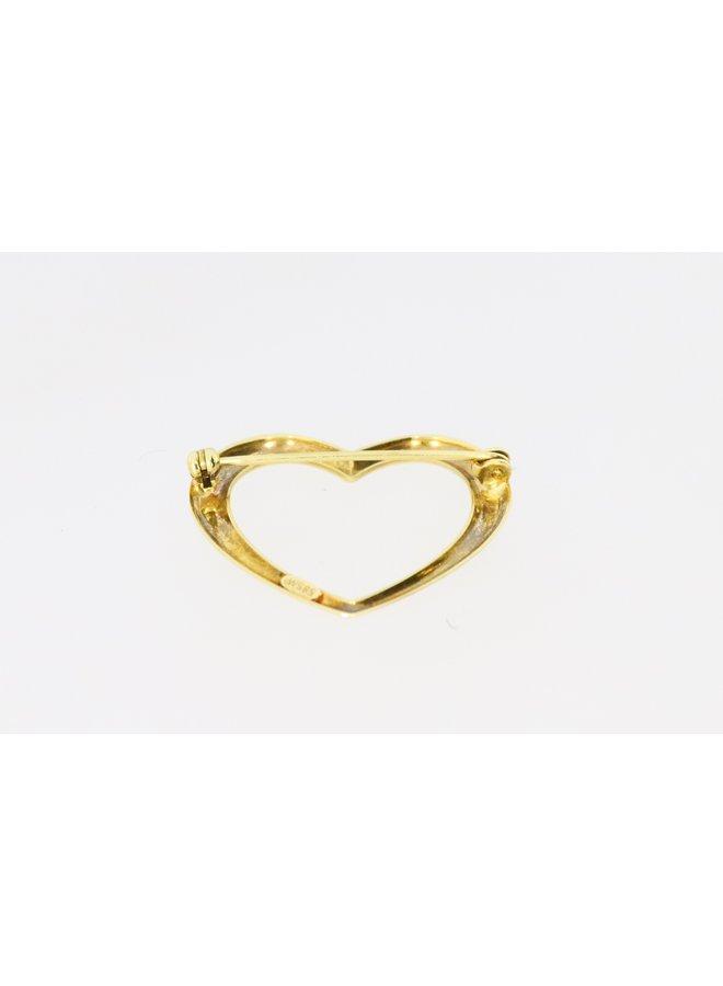 14k gold heart brooch