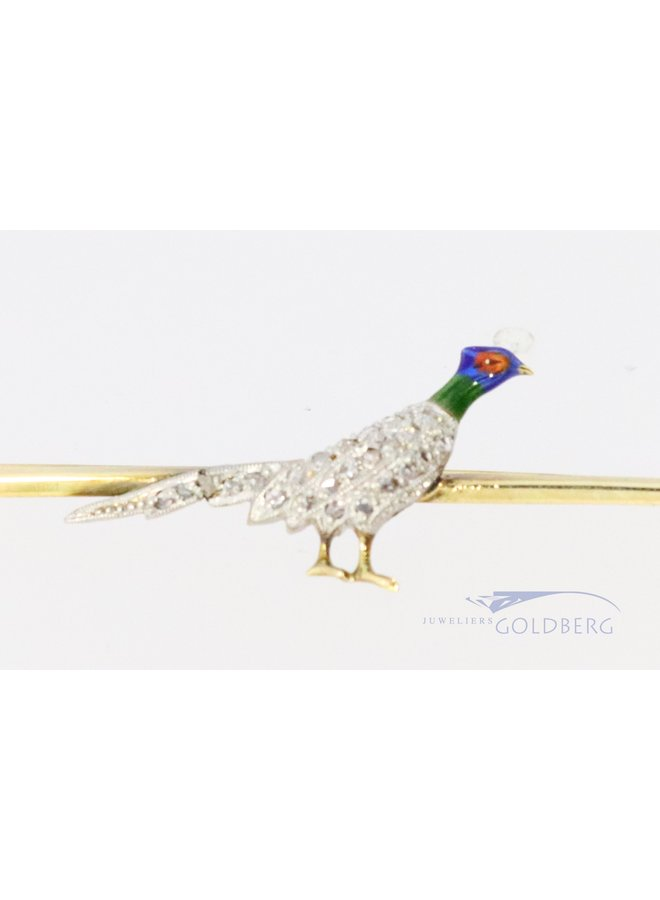 Fanatic brooch with a pheasant and diamond.