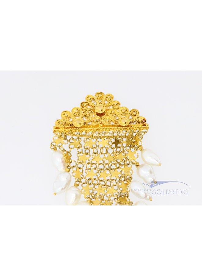 18k gouden vintage broche met parels