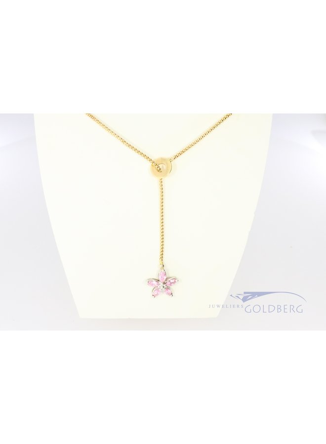 14k gold slide necklace with flower