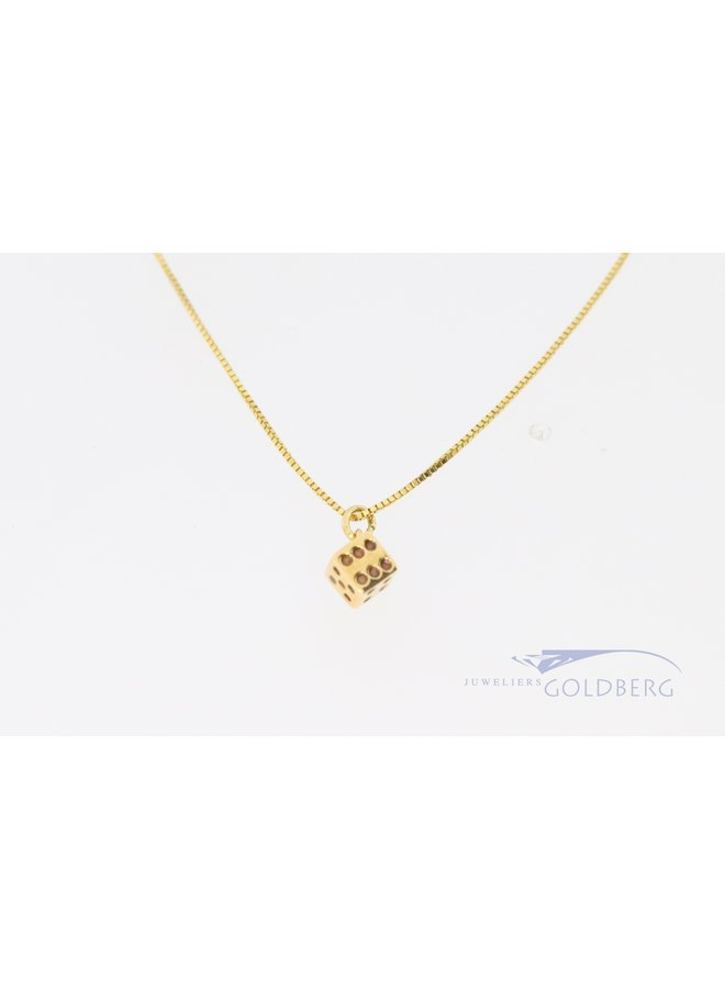 children's necklace with dice 14k gold