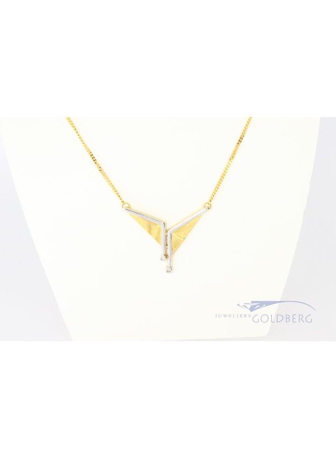18k bi-colour Fantasie collier met diamant
