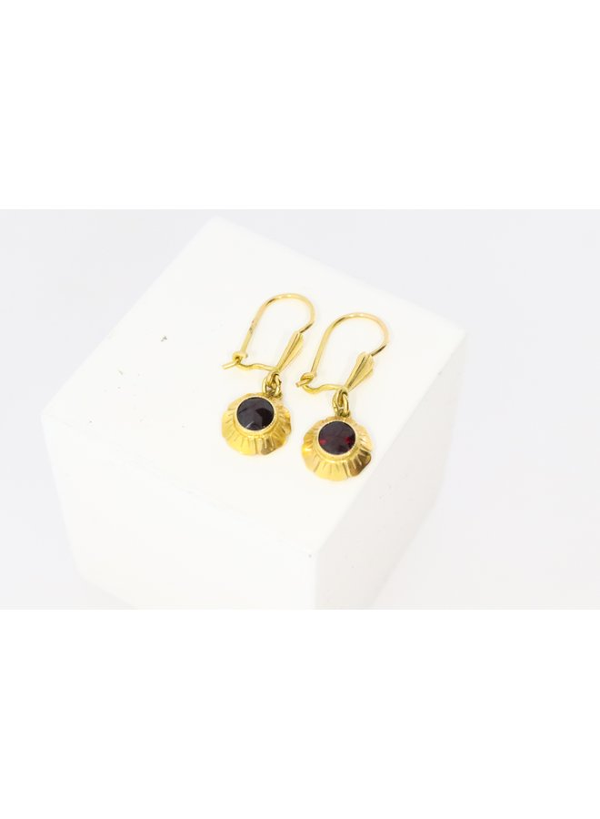 14k gold earrings with garnet