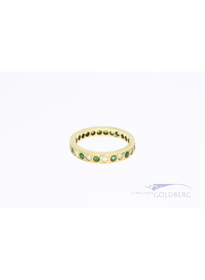 Alliance 14k ring with emerald and diamond