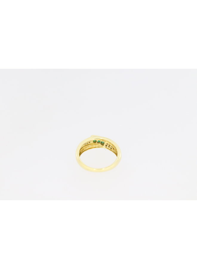 14k gouden ring met smaragd en diamant