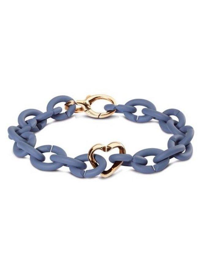 X-Jewelery blue bracelet + bronze lock & heart