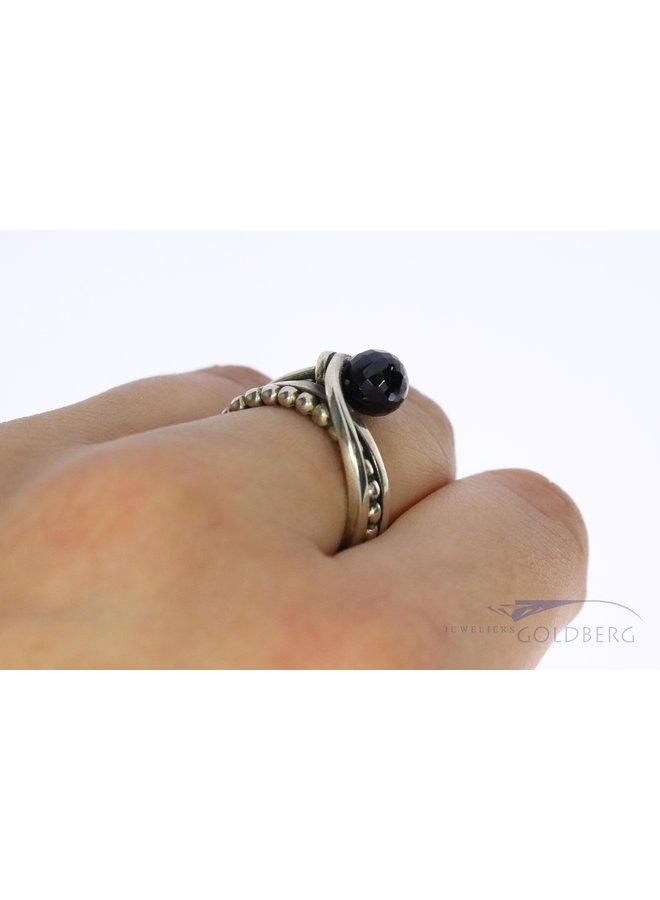 Rabinovich silver ring with black garnet
