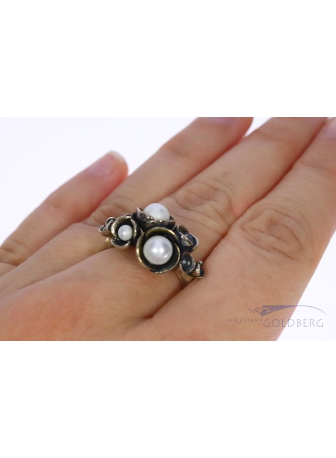 Rabinovich silver ring with pearls