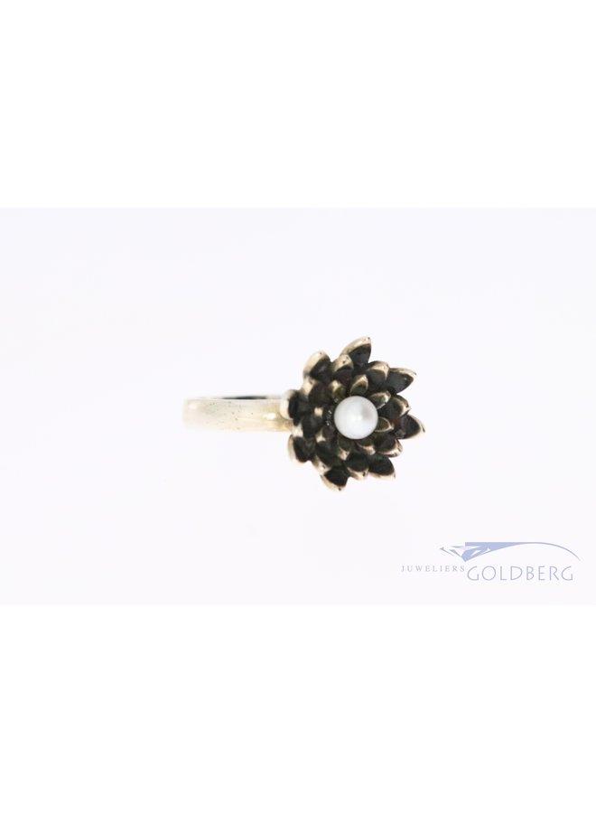 Rabinovich zilveren ring met lotusvorm en parel