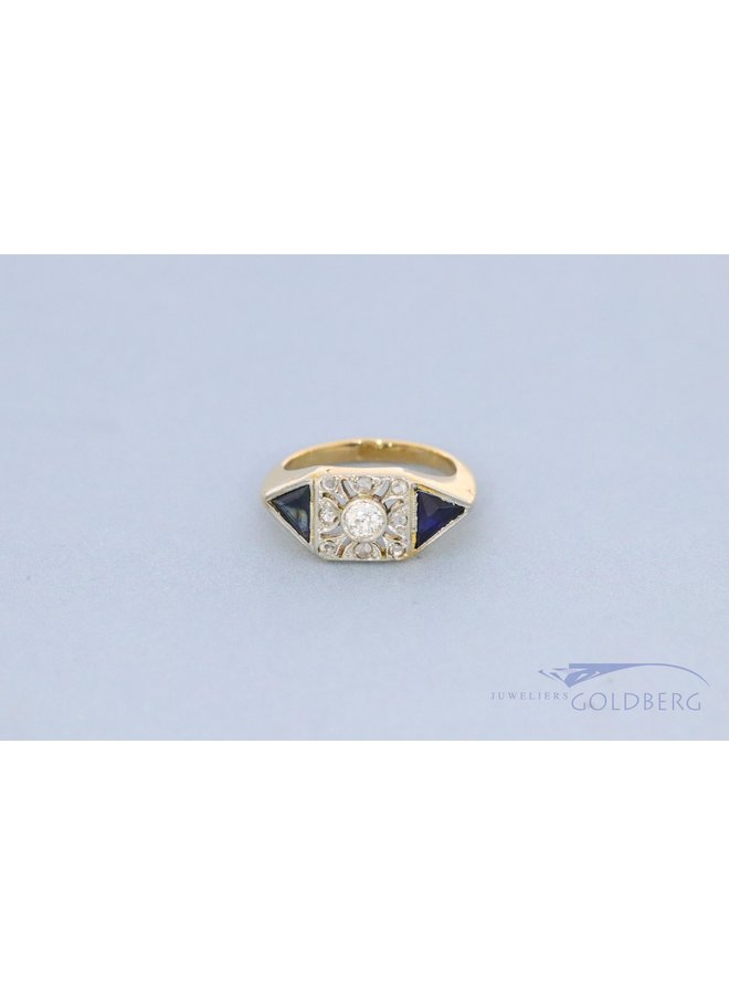18 kt Art Deco French ring with diamond and sapphire