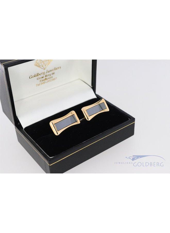 vintage PIAGET 18k gouden manchetknopen met hematiet.