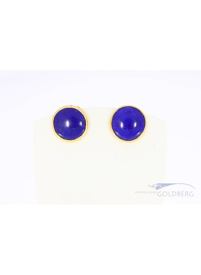 18k yellow gold round earrings with Lapis Lazuli