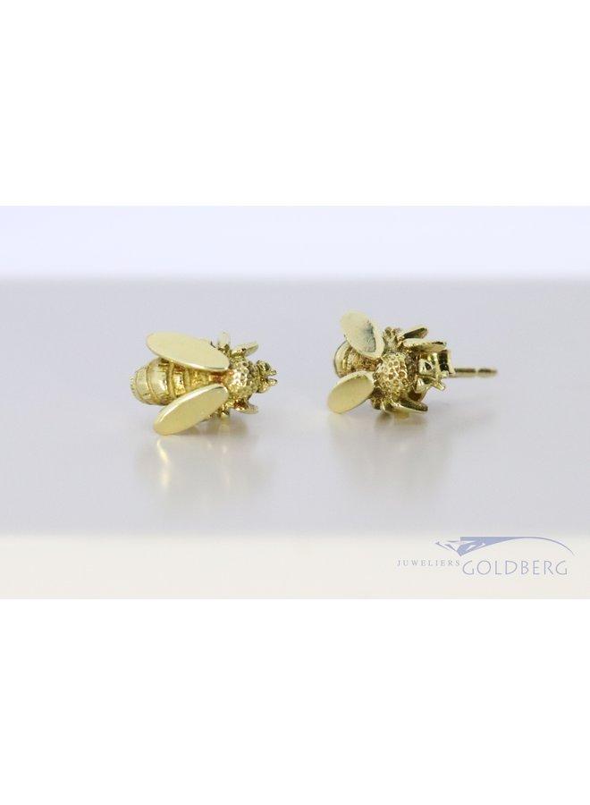 cute 14k gold bee earrings