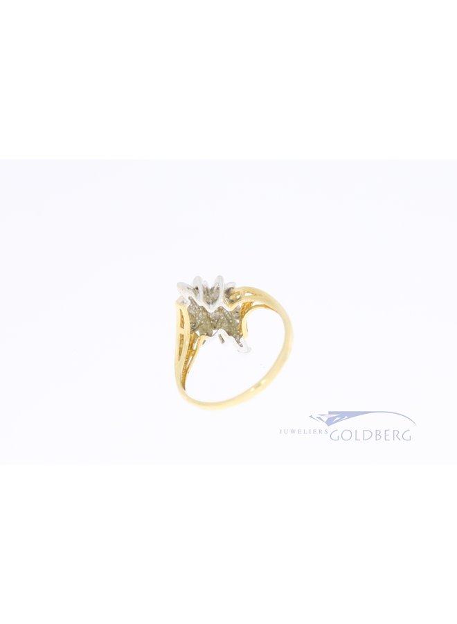 14k bi-colour  gouden ring met diamant
