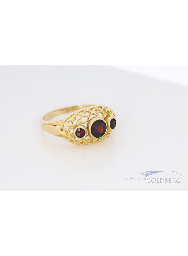 14k vintage fantasie ring met granaat