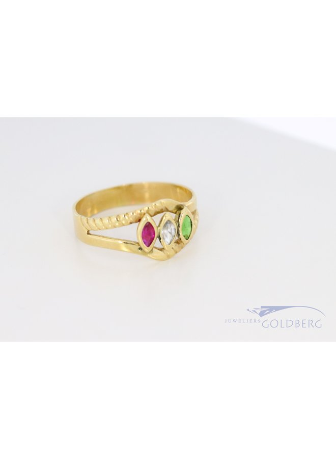 14 carat fantasy ring with 3 marquis-shaped colored stones
