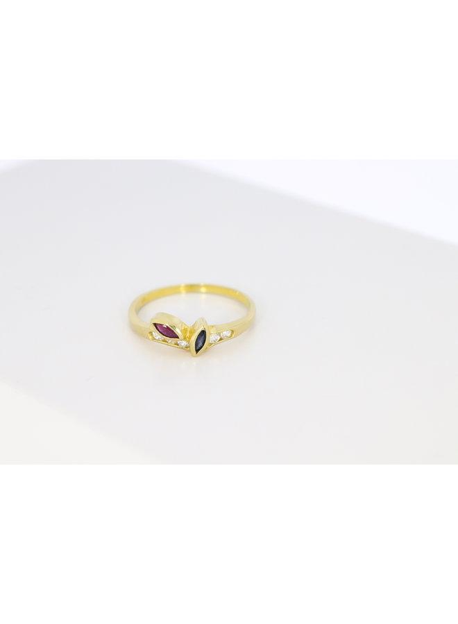 14k ring met zirkonia, saffier en robijn.