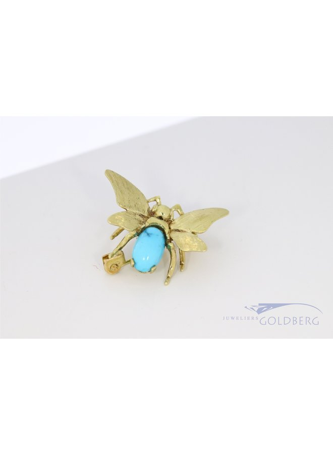 14k gold bee brooch with turquoise